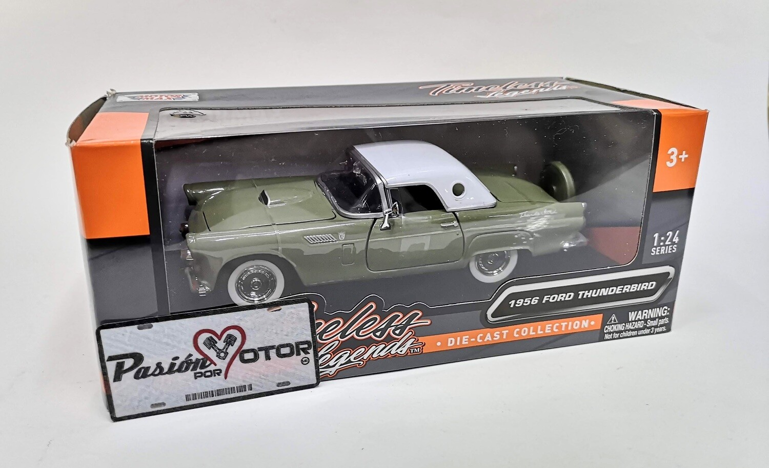 Motor Max 1:24 Ford Thunderbird Coupe 1956 Verde Timeless Legends Con Caja