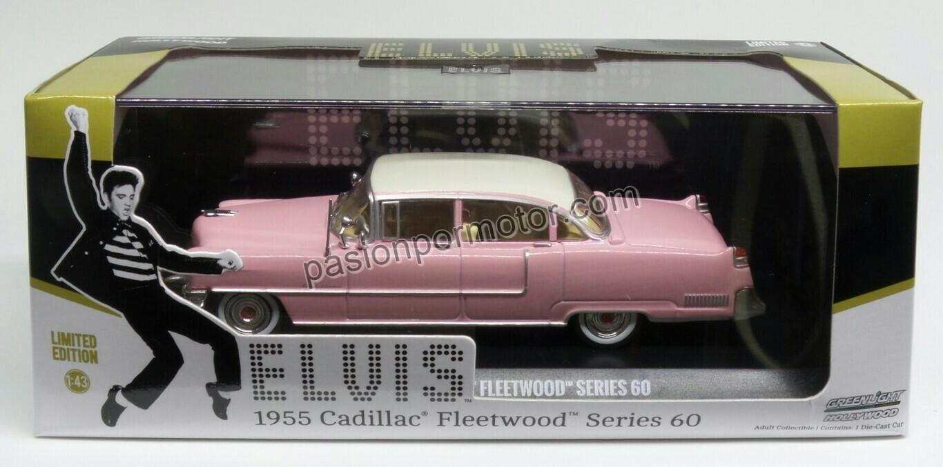Greenlight 1:43 Cadillac Fleetwood Sedan Series 60 Elvis 1955 Rosa Hollywood En caja