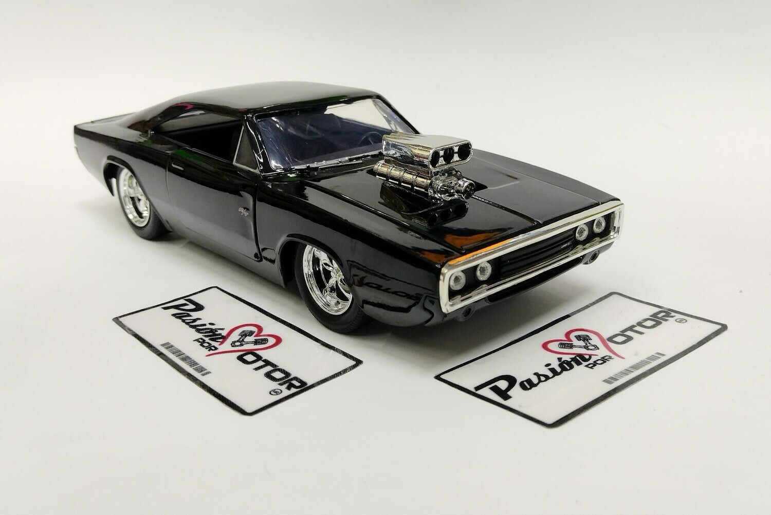 Jada Toys 1:24 Dodge Charger Coupe R/T Dom's 1970 Negro Fast & Furious 1 Con Caja