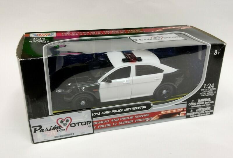Motor Max 1:24 Ford Police Interceptor Sedan 2013 Negro  y Blanco Law Enforcement And Public Service Con Caja Patrulla