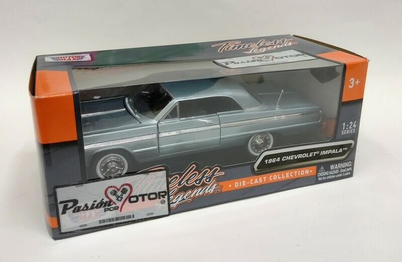 Motor Max 1:24 Chevrolet Impala Coupe 1964 Azul Timeless Legends Con Caja