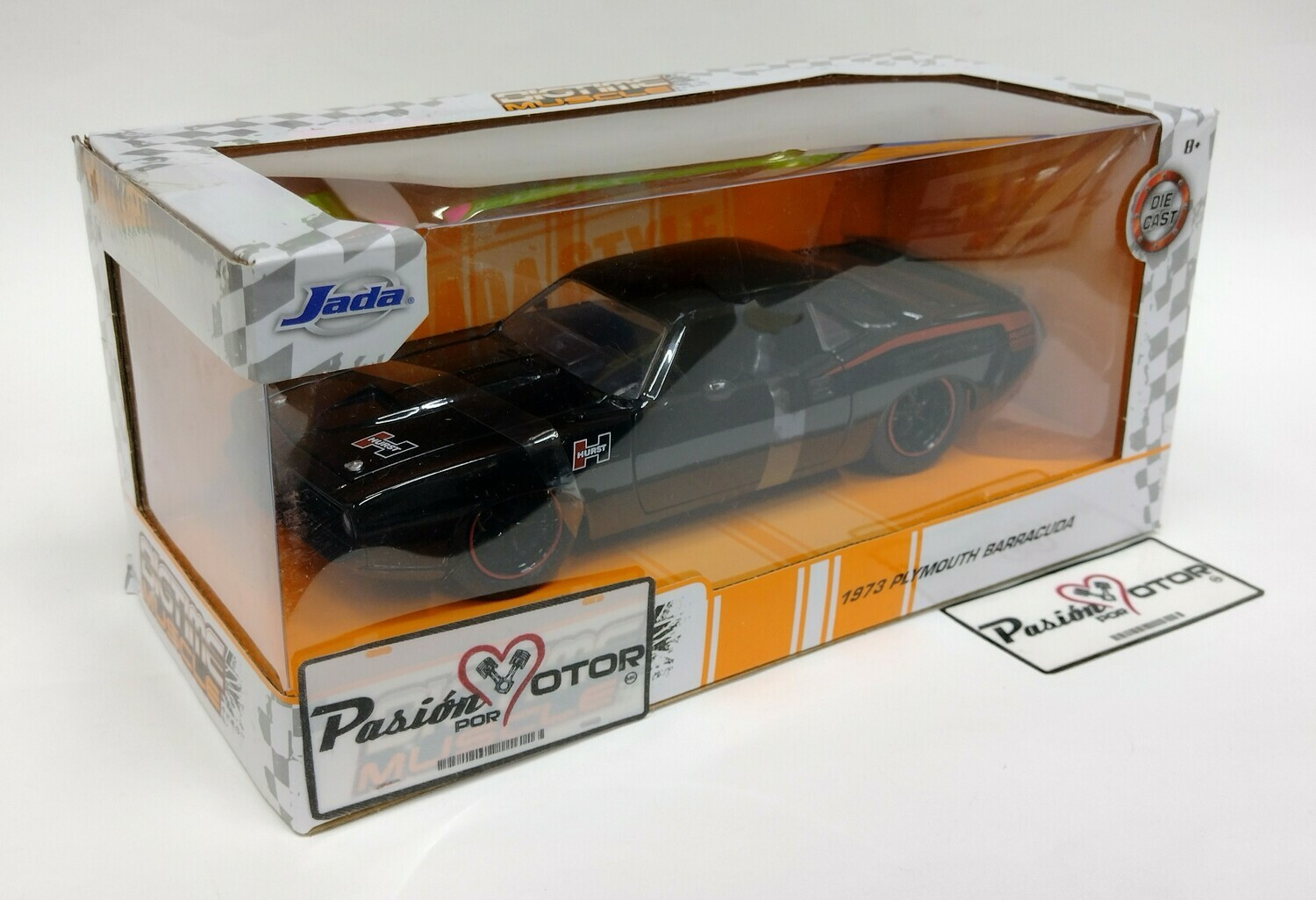 Jada Toys 1:24 Plymouth Barracuda Coupe 1973 Negro Big Time Muscle Con Caja