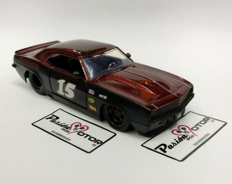 Jada Toys 1:24 Chevrolet Camaro Coupe #15 1969 Negro Mate y Cobre Big Time Muscle Con Caja