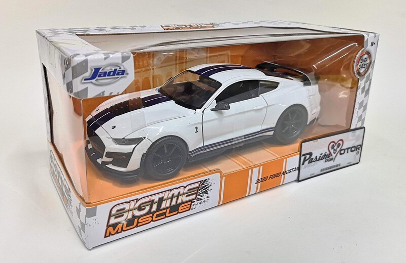 Jada Toys 1:24 Ford Mustang Shelby Coupe GT500 2020 Blanco Big Time Muscle Con Caja Cobra