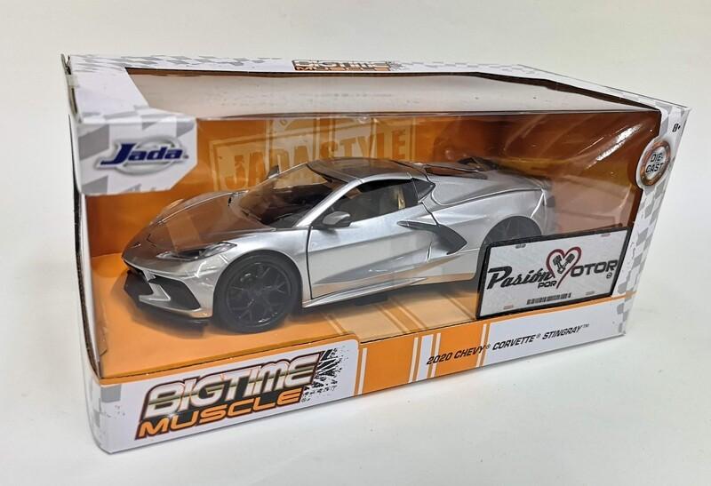 Jada Toys 1:24 Chevrolet Corvette Stingray Coupe 2020 Plata Big Time Muscle Con Caja