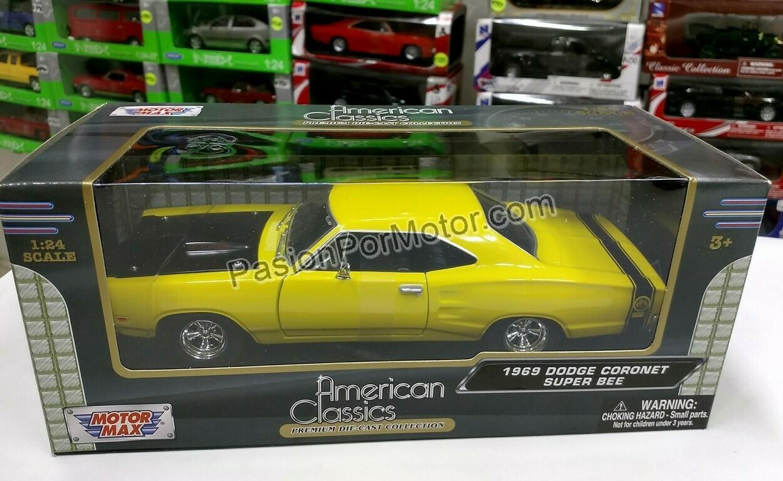 1:24 Dodge Coronet Super Bee 1969 Amarillo Motor Max C Caja Mopar