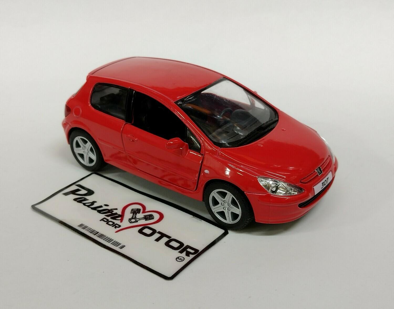 Kinsmart 1:34 Peugeot 307 Hatchback 2001 Rojo Display a Granel 1:32