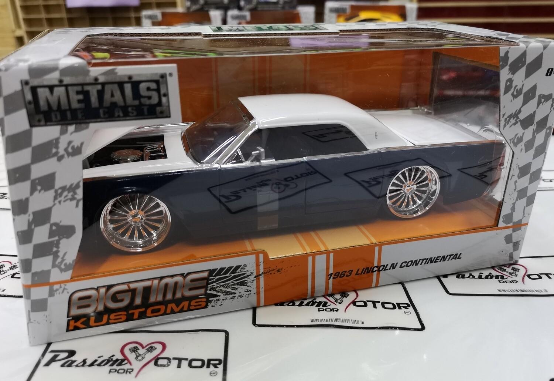 Jada Toys 1:24 Lincoln Continental Sedan 1963 Azul con Blanco Big Time Kustoms Con Caja