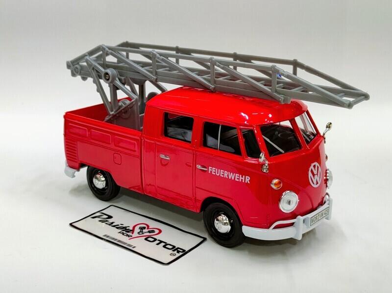 Motor Max 1:24 Volkswagen Type 2 T1 Pick Up Bomberos C Escalera Aerea 1962 Rojo Con Caja Combi