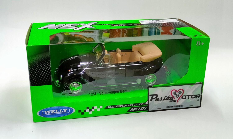 Welly 1:24 Volkswagen Super Beetle Cabriolet 1302 1972 Negro Nex Models Con Caja