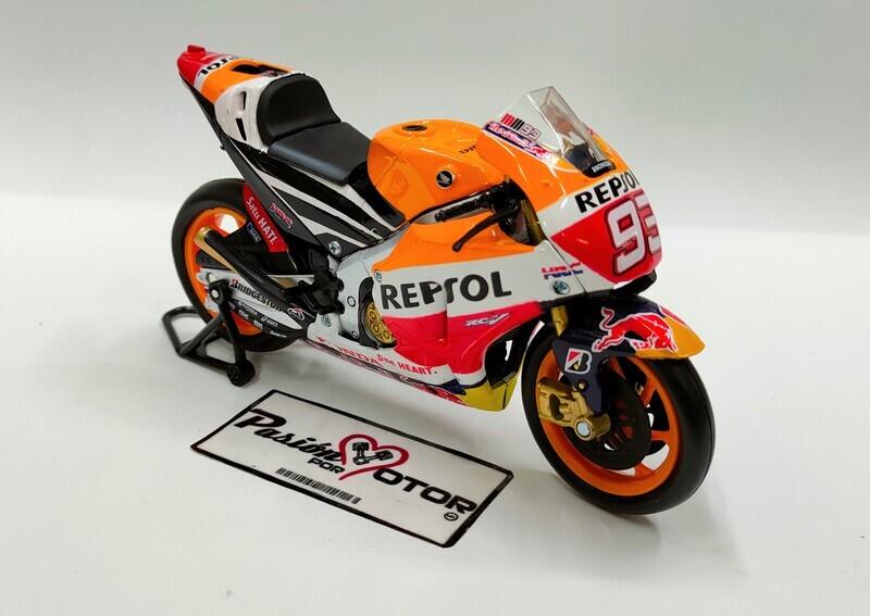 New Ray 1:12 Repsol Honda Team RC213V Motocicleta #93 Marc Márquez 2015 Naranja Blanco y Azul Con Caja
