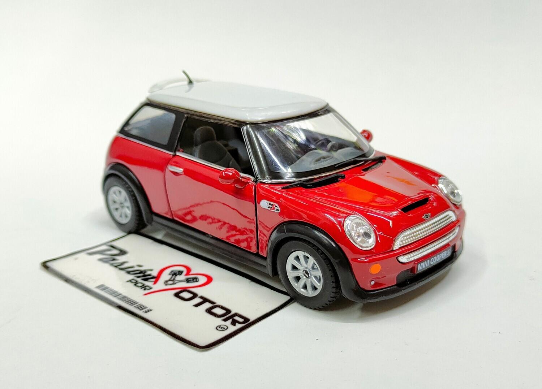 1:28 Mini Cooper S 2001 Rojo c Blanco Kinsmart En Display / a Granel 1:32