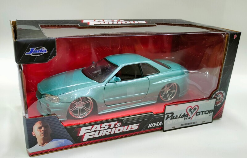 Jada Toys 1:24 Nissan Skyline Coupe GT-R BNR34 Brian's 1999 Verde Rapido y Furioso Turbo Charged Prelude 2F2F Con Caja