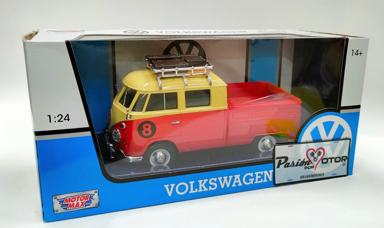 Motor Max 1:24 Volkswagen Type 2 T1 Pick Up No.8 Con Canastilla 1962 Rojo y Beige Con Caja