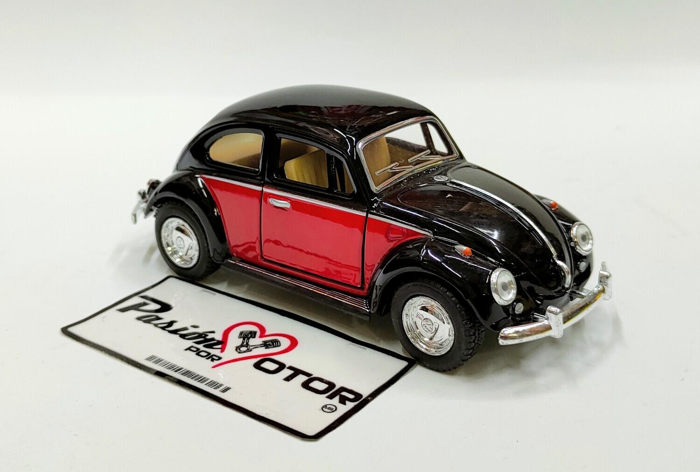Kinsmart 1:32 Volkswagen Beetle Sedan 1967 Bitono Negro C Rojo Display a Granel Vocho