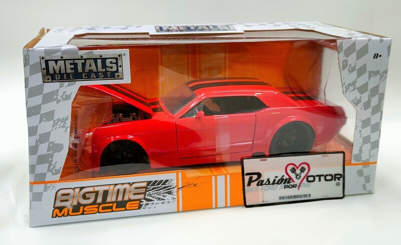 Jada Toys 1:24 Ford Mustang Coupe Hard Top 1965 Rojo y Franjas Big Time Muscle Con Caja