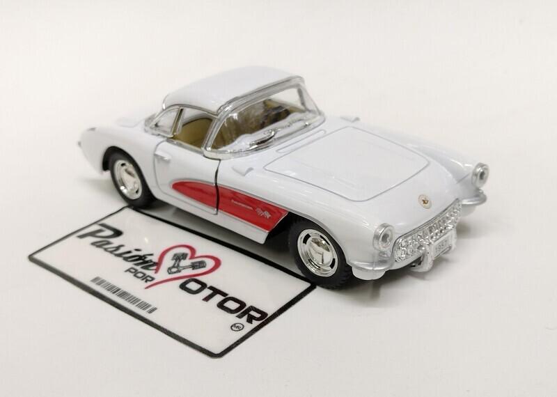 Kinsmart 1:34 Chevrolet Corvette Coupe 1957 Blanco Display Granel 1:32