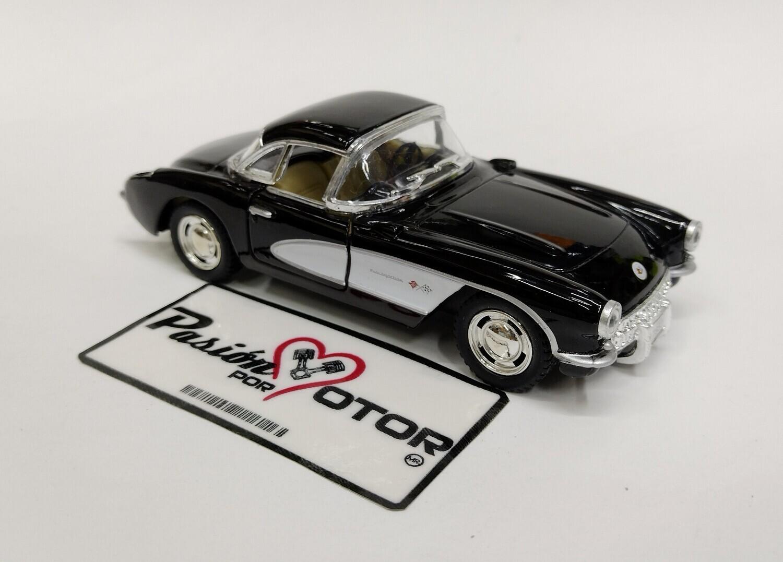 Kinsmart 1:34 Chevrolet Corvette Coupe 1957 Negro Display Granel 1:32