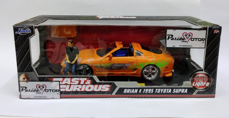Jada Toys 1:18 Toyota Supra Coupe Brian's Con Luz   Neon 1995 Naranja Rapido y Furioso Con Caja