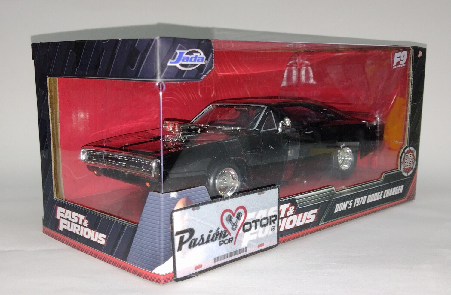 Jada Toys 1:24 Dodge Charger Coupe R/T Dragster Dom's 1970 Negro Fast & Furious 9 Con Caja