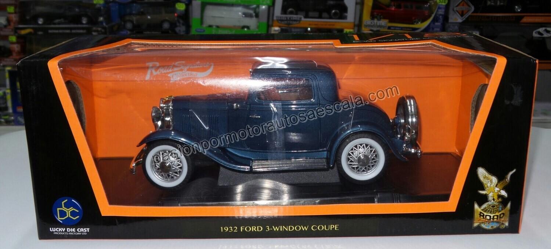 Lucky Die Cast1:18FordModel A 3 WindowCoupe 1932 Azul Obscuro Road LegendsCon Caja