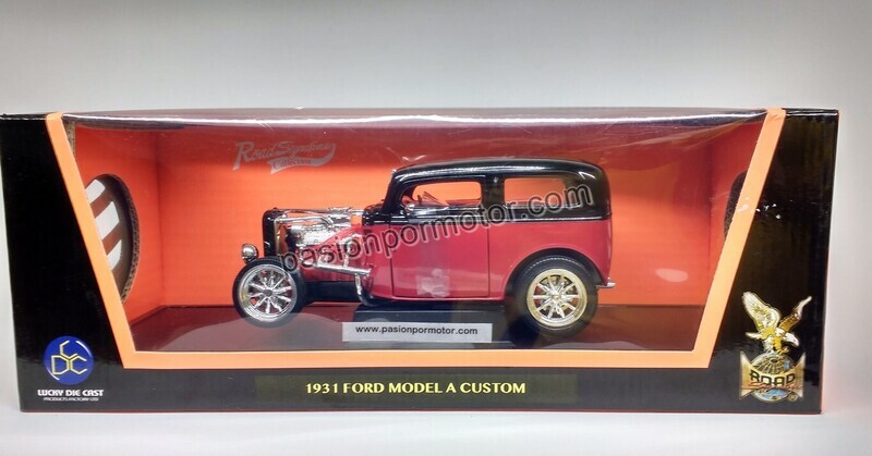 Lucky Die Cast 1:18 Ford Model A Coupe Custom 1931 Rojo c Negro Road Legend Con Caja