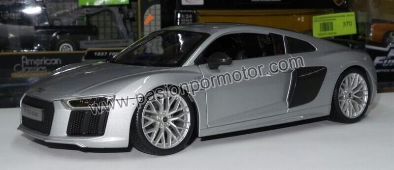 Maisto 1:18 Audi R8 V10 Plus Coupe 2016 Plata Premier Edition Con Caja