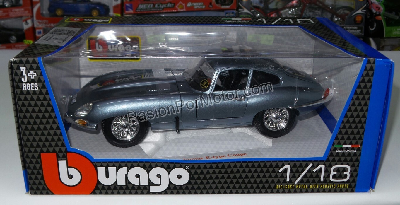 Bburago 1:18 Jaguar E Type Coupe 1961 Azul Metalico Con Caja