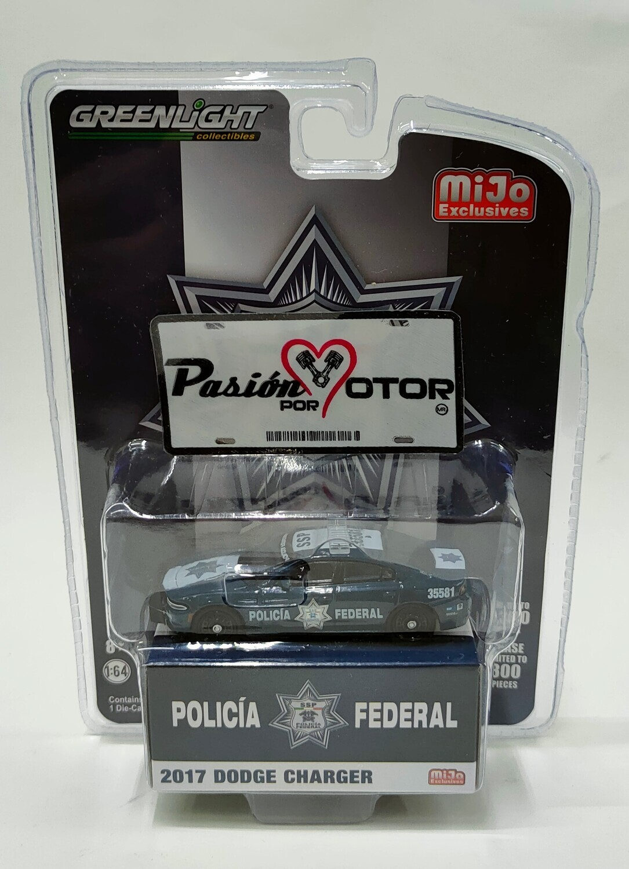 Greenlight 1:64 Dodge Charger Patrulla Policia Federal SSP 2017 Azul Mijo Exclusives En Blister