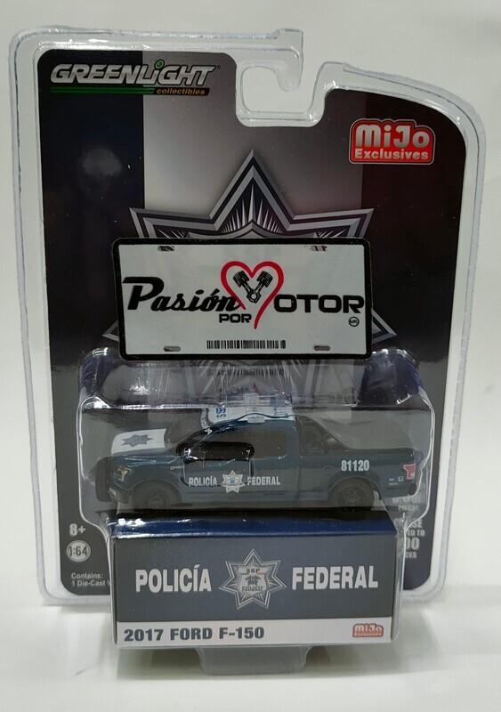 Greenlight 1:64 Ford F-150 Patrulla Policia Federal SSP 2017 Azul Mijo Exclusive En Blister