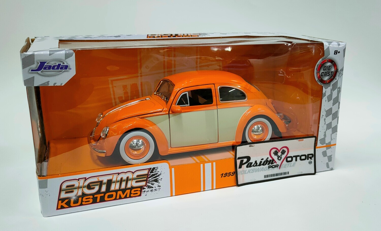1:24 Volkswagen Beetle 1959 Naranja C Beige Rin Baby Moon Jada Toys Big Time Kustoms En Caja