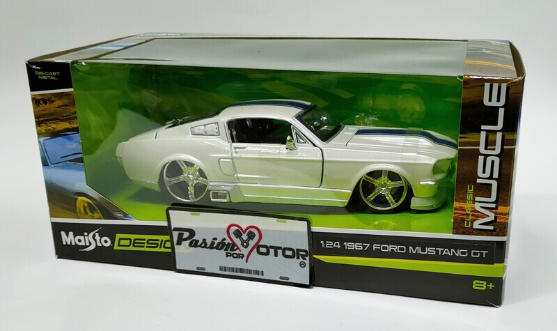 Maisto 1:24 Ford Mustang GT Coupe Fastback 2+2 1967 Blanco perla Design Classic Muscle Con Caja