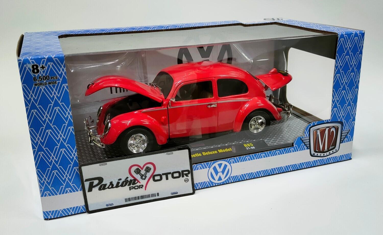 M2 Machines 1:24 Volkswagen Beetle Deluxe Model Sedan Split Window 1952 Rojo R85 Con Caja Vocho