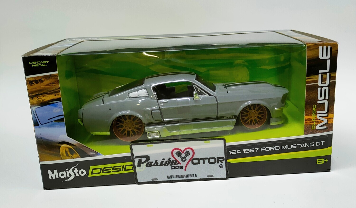 Maisto 1:24 Ford Mustang GT Coupe Fastback 2+2 1967 Gris perla Design Classic Muscle Con Caja
