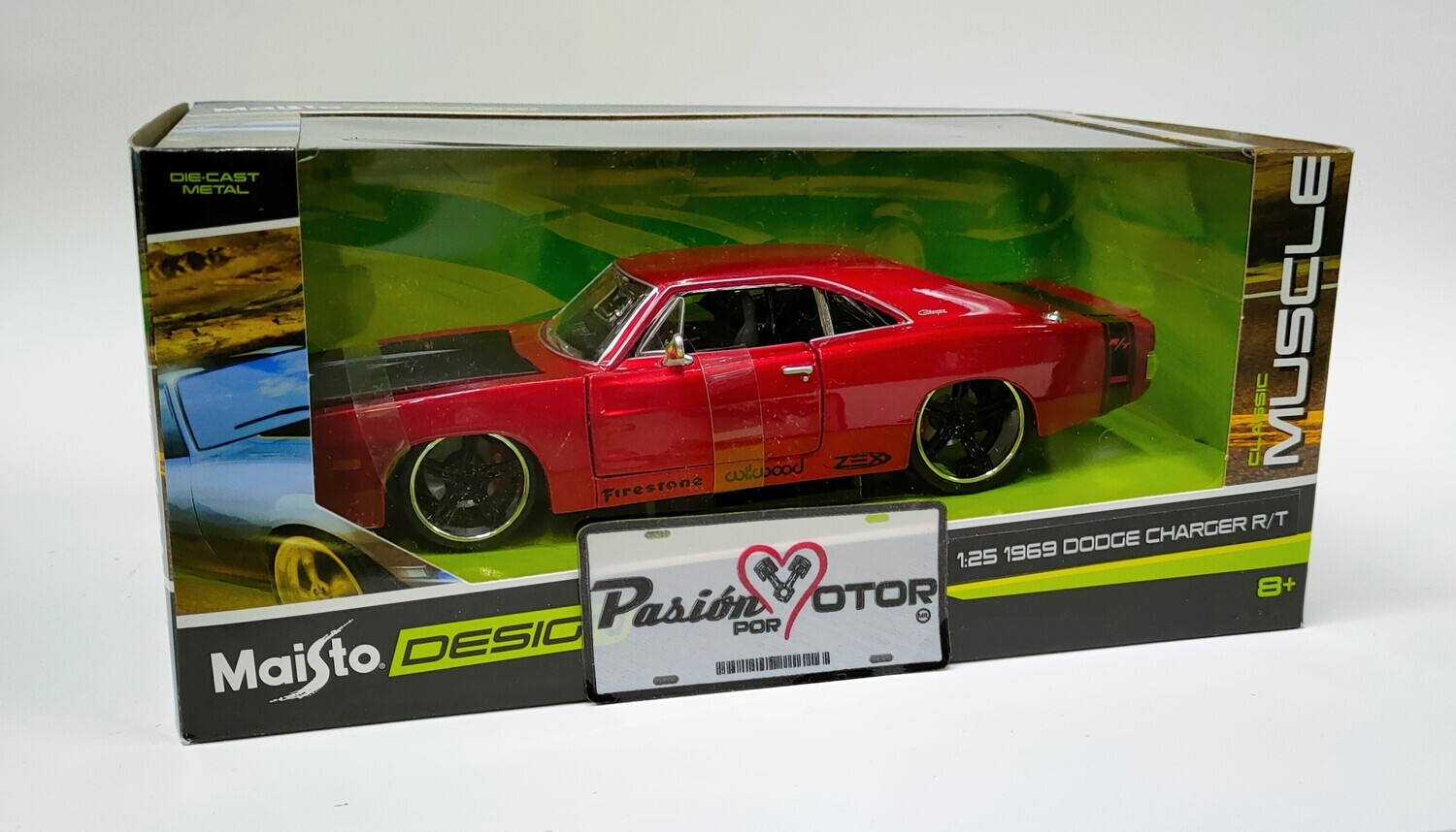 Maisto 1:25 Dodge Charger R/T Coupe 1969 Rojo candy Design Classic Muscle Con Caja 1:24