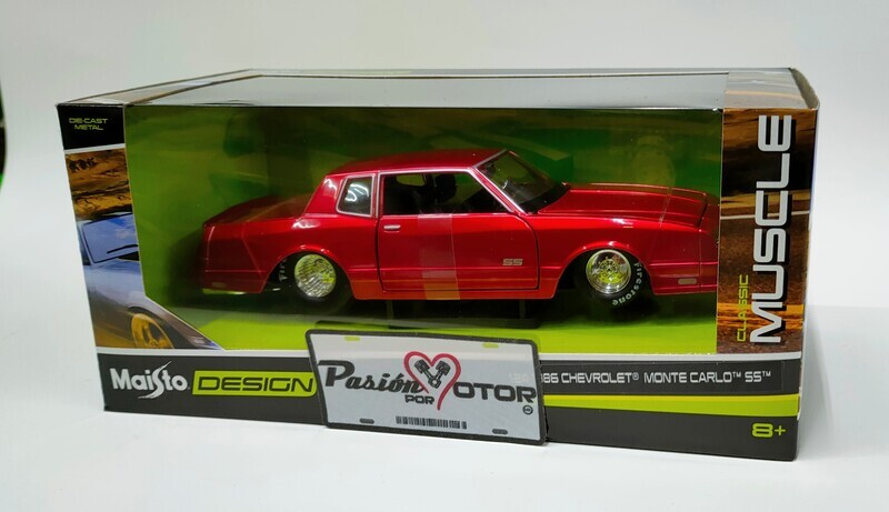 Maisto 1:24 Chevrolet Montecarlo Coupe SS 1986 Rojo Candy Design Classic Muscle Con Caja