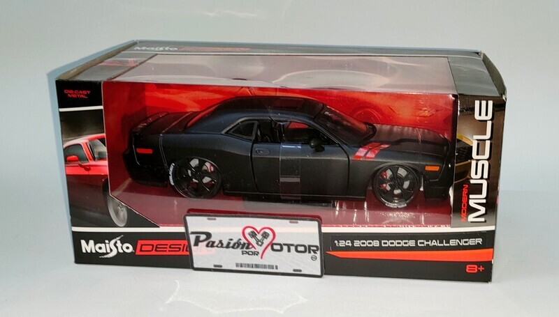 Maisto 1:24 Dodge Challenger SRT8 Coupe 2008 Negro mate Design Modern Muscle Con Caja