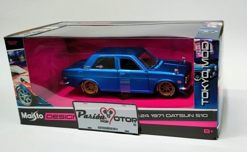 Maisto 1:24 Datsun 510 Coupe Custom 1971 Azul Design Tokyo Mod Con Caja