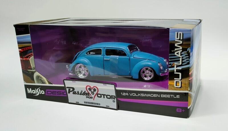 Maisto 1:24 Volkswagen Beetle Oval Window Chop Top 1955 Azul Mate Design Outlaws Con Caja