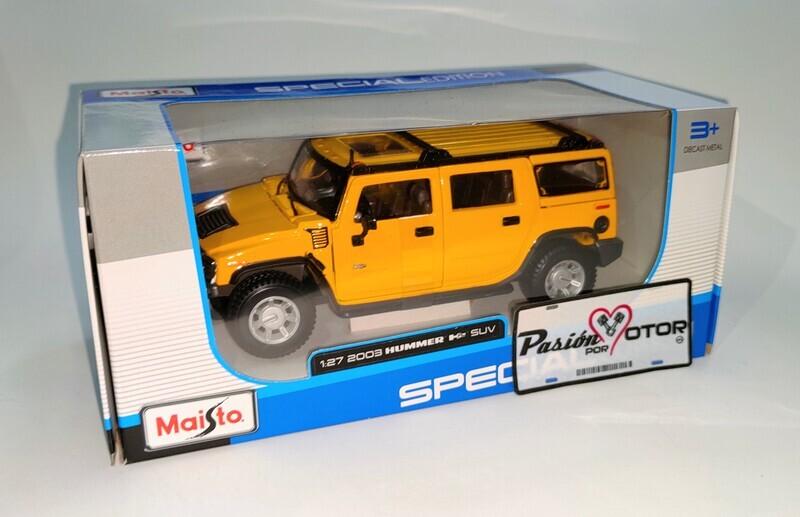 Maisto 1:27 Hummer H2 Suv 2003 Amarillo Special Edition Display Con Caja 1:24