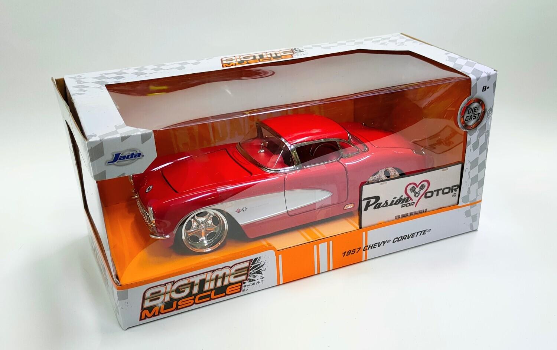 Jada Toys 1:24 Chevrolet Corvette Coupe Custom 1957 Rojo Big Time Muscle Con Caja