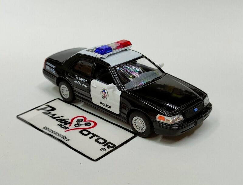 Kinsmart 1:42 Ford Crown Victoria Patrulla Police Interceptor 1998 Negro y blanco Display a Granel 1:43