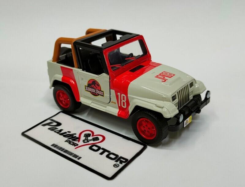 Jada Toys 1:35 Jeep Wrangler 1992 Beige y rojo Jurassic World En Caja 1:32