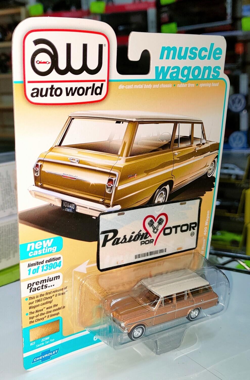 Auto World 1:64 Chevrolet Nova II 400 Wagon Guayin 1963 Arena Premium Series-Muscle Wagons W2 A Tarjeta