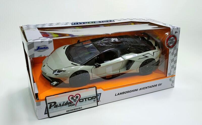 Jada Toys1:24 Lamborghini Aventador LP750-4 SV Coupe 2015 Gris Hyper-Spec Con Caja