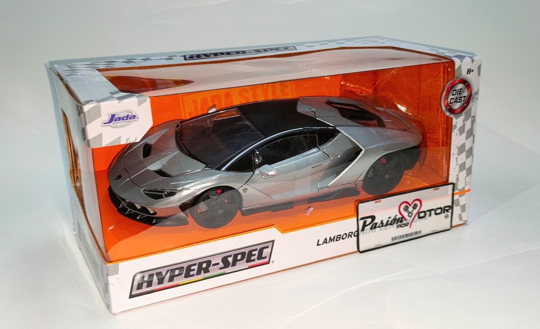 Jada Toys 1:24 Lamborghini Centenario Coupe 2016 Plata Hyper-Spec Con Caja