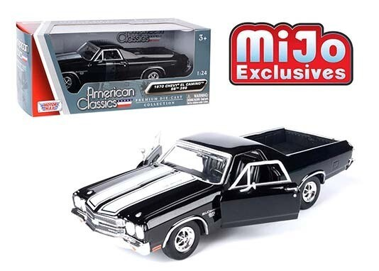 1:24 Chevrolet El Camino SS 396 1970 Negro Franjas Blancas Pick Up Motor Max C Caja
