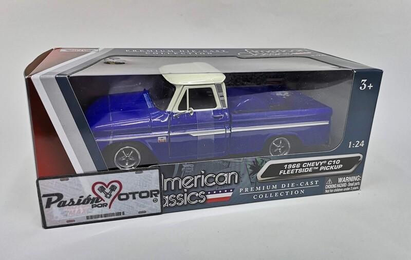 Motor Max 1:24 Chevrolet C10 Fleetside Pick Up 1966 Azul y beige C Caja