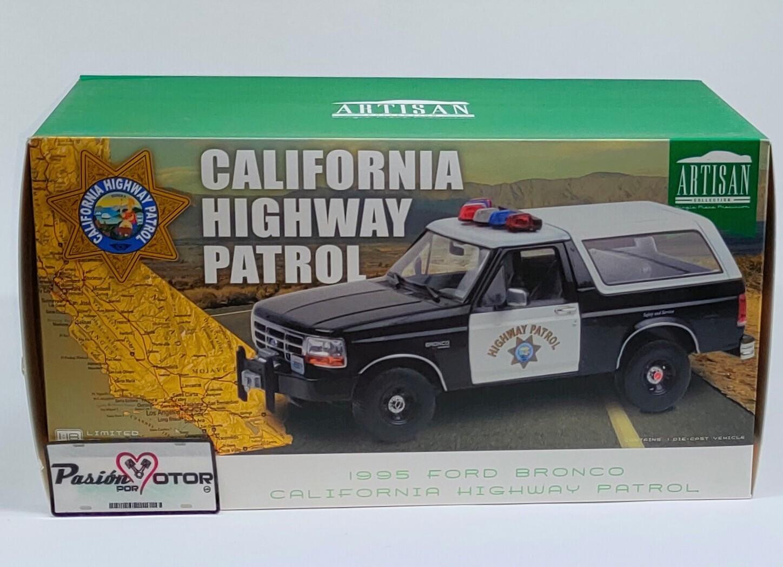 Greenlight 1:18 Ford Bronco SUV Patrulla California Highway Patrol 1995 Negro y blanco Artisan Con Caja