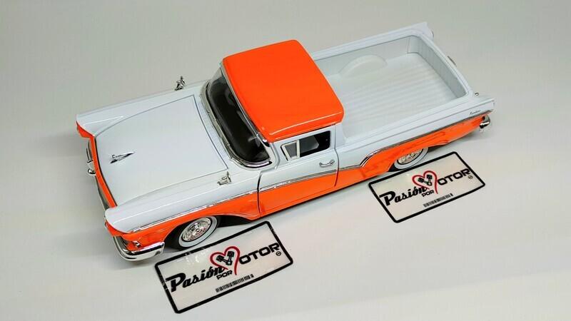 Lucky Die Cast 1:18 Ford Ranchero Pick Up 1957 Naranja con blanco Road Legends Con Caja